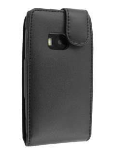 Genuine Leather Flip Case for Nokia X7 - Black Leather Flip Case