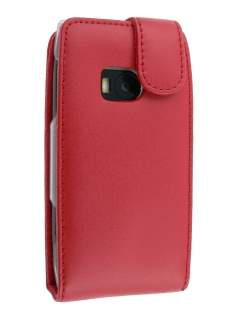 Genuine Leather Flip Case for Nokia X7 - Red Leather Flip Case