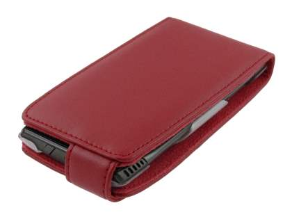 Genuine Leather Flip Case for Nokia X7 - Red