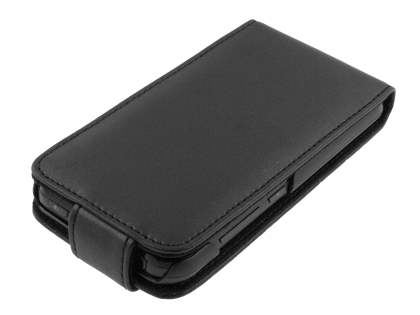 Genuine Leather Flip Case for LG Optimus Black P970 - Black