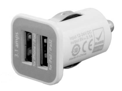 USAMS Dual Micro Auto Charger for iPhone/iPad - White Car Charger for Apple