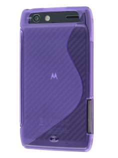 Wave Case for Motorola RAZR - Frosted Purple/Purple Soft Cover