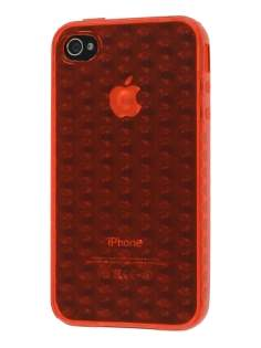 iPhone 4S Bubble Gel Case - Orange Red Soft Cover