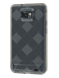 Retro Checkered-Pattern TPU Case for I9100 Galaxy S2 - Grey