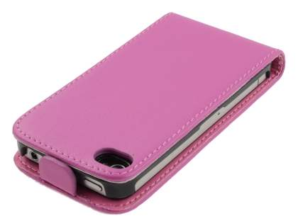 iPhone 4S/4 Slim Synthetic Leather Flip Case - Pink