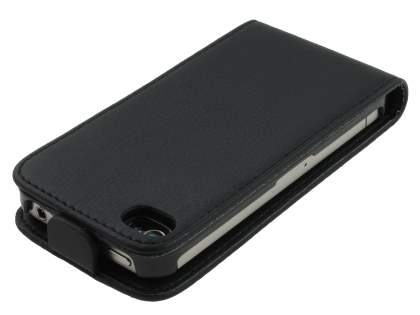 Synthetic Leather Flip Case for iPhone 4S/4 - Black
