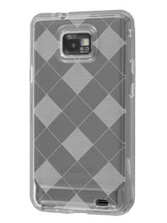 I9100 Galaxy S2 Retro Checkered-Pattern TPU Case - Clear