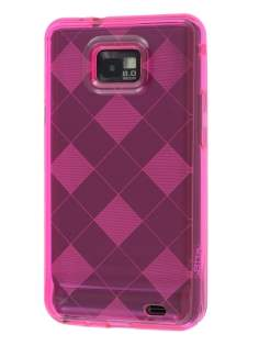 I9100 Galaxy S2 Retro Checkered-Pattern TPU Case - Hot Pink