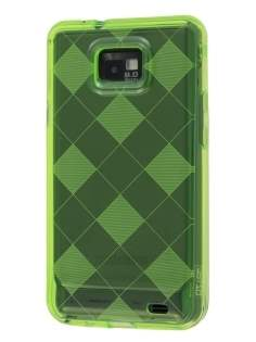 I9100 Galaxy S2 Retro Checkered-Pattern TPU Case - Green