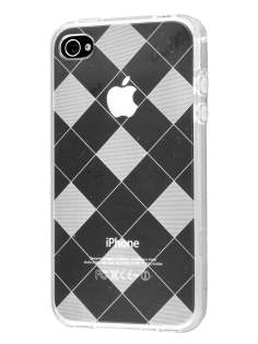 iPhone 4S Retro Checkered-Pattern TPU Case - Clear
