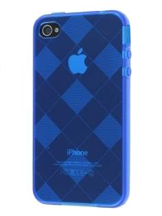 Retro Checkered-Pattern TPU Case for iPhone 4S - Blue