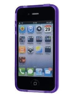 Retro Checkered-Pattern TPU Case for iPhone 4S - Purple