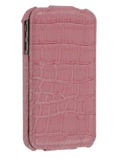 Synthetic Leather Flip Case for iPhone 4/4S - Baby Pink Leather Flip Case