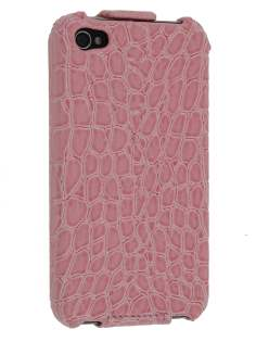iPhone 4/4S Slim Synthetic Leather Flip Case - Baby Pink