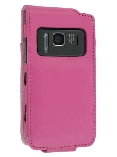 Synthetic Leather Flip Case for Nokia N8 - Pink Leather Flip Case