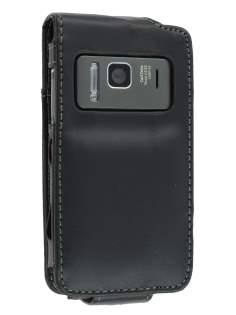 Nokia N8 Synthetic Leather Flip Case - Black Leather Flip Case