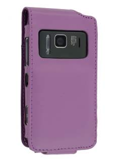 Nokia N8 Synthetic Leather Flip Case - Purple Leather Flip Case