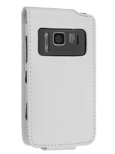 Synthetic Leather Flip Case for Nokia N8 - White Leather Flip Case