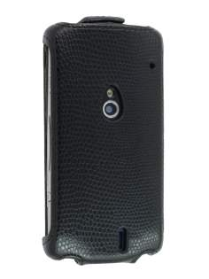 Synthetic Leather Flip Case for Sony Ericsson Xperia neo MT15i - Black Leather Flip Case