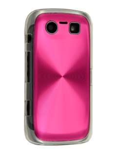BlackBerry Torch 9860 Grain Plated Aluminium Hard Case - Hot Pink/Clear Hard Case
