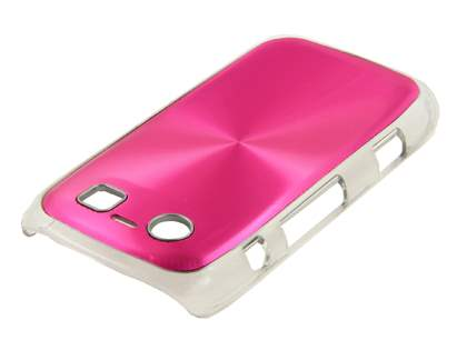 BlackBerry Torch 9860 Grain Plated Aluminium Hard Case - Hot Pink/Clear