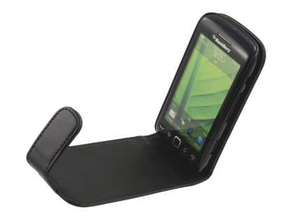 BlackBerry Torch 9860 Synthetic Leather Flip Case - Classic Black