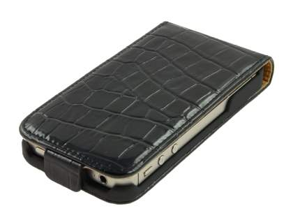 iPhone 4/4S Slim Synthetic Leather Flip Case - Black