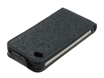 Lopez iPhone 4/4S Slim Synthetic Leather Flip Case - Night Black