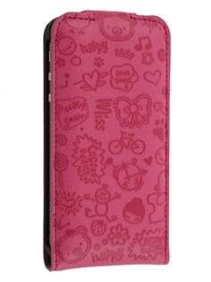 Lopez iPhone 4/4S Slim Synthetic Leather Flip Case - Hot Pink Leather Flip Case