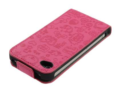 Lopez iPhone 4/4S Slim Synthetic Leather Flip Case - Hot Pink