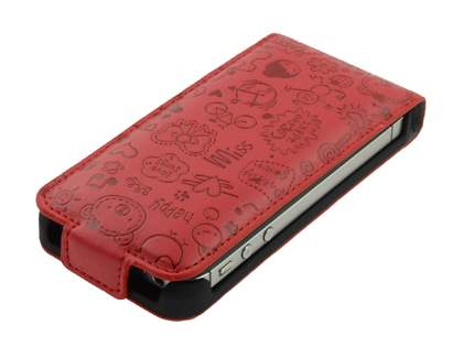 Lopez iPhone 4/4S Slim Synthetic Leather Flip Case - Burgundy Red