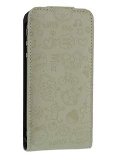 Lopez iPhone 4/4S Slim Synthetic Leather Flip Case - Beige Leather Flip Case