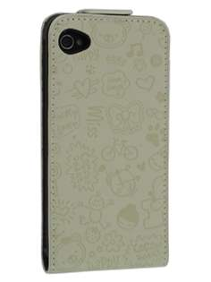 Lopez iPhone 4/4S Slim Synthetic Leather Flip Case - Beige