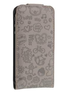 Lopez iPhone 4/4S Slim Synthetic Leather Flip Case - Thistle Grey Leather Flip Case