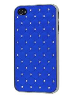 Diamante-Studded Fashionable Case for iPhone 4S/4 - Blue Hard Case