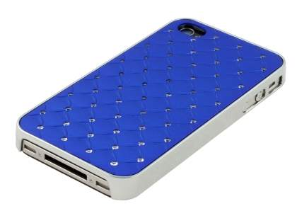 Diamante-Studded Fashionable Case for iPhone 4S/4 - Blue