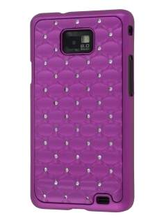 Diamante-Studded Fashionable Case for Samsung I9100 Galaxy S2 - Purple