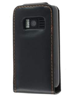 Nokia C6-01 Synthetic Leather Flip Case - Black Leather Flip Case