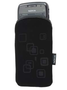 Stylish Protective Textile Sleeve for Nokia E71 - Classic Black Sleeve