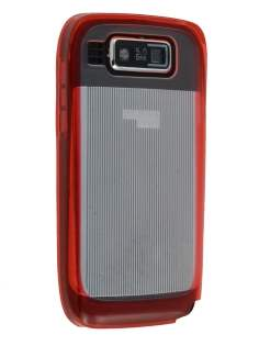 TPU Gel Case for Nokia E72 - Red/Clear Soft Cover