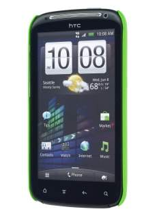 Rubberised Colour Case plus Screen Protector for HTC Sensation - Lime Green