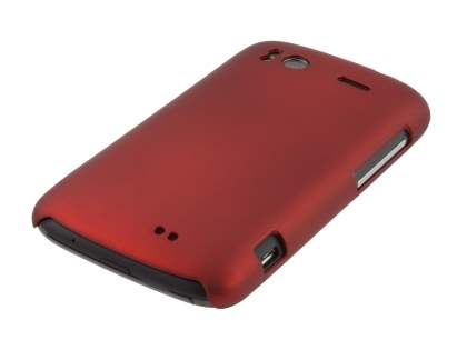 Rubberised Colour Case plus Screen Protector for HTC Sensation - Burgundy Red
