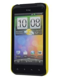 Rubberised Colour Case plus Screen Protector for HTC Incredible S - Canary Yellow