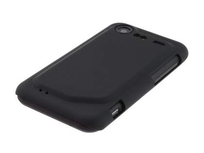 Rubberised Colour Case plus Screen Protector for HTC Incredible S - Classic Black