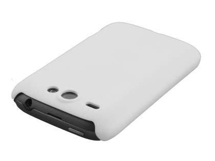 Rubberised Colour Case plus Screen Protector for HTC G8 Wildfire - Pearl White