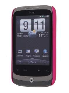 Rubberised Colour Case plus Screen Protector for HTC G8 Wildfire - Hot Pink