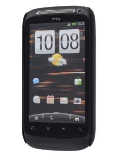 Rubberised Colour Case plus Screen Protector for HTC Desire S - Classic Black