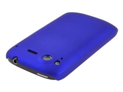 Rubberised Colour Case plus Screen Protector for HTC Desire S - Navy Blue