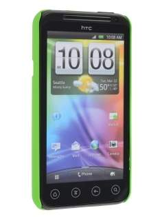 Rubberised Colour Case plus Screen Protector for HTC EVO 3D - Lime Green