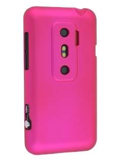 Rubberised Colour Case for HTC EVO 3D - Hot Pink Hard Case